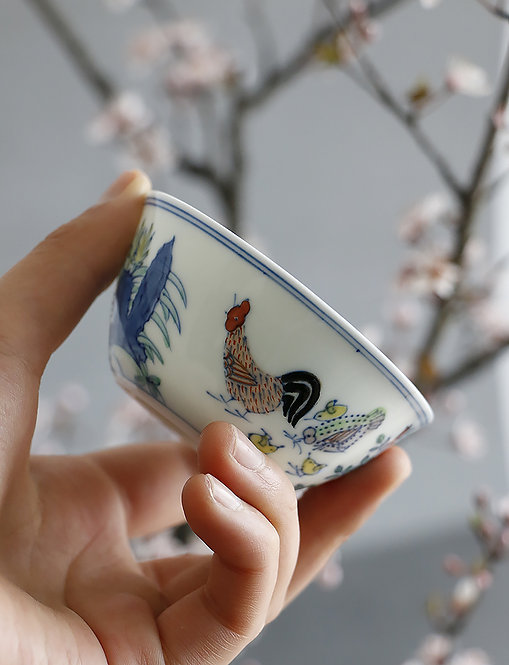 Handpainted Ming Dynasty Chicken Family Re-work Teacup