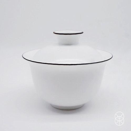 Black Rim White Ceramic Gaiwan (90 ml)