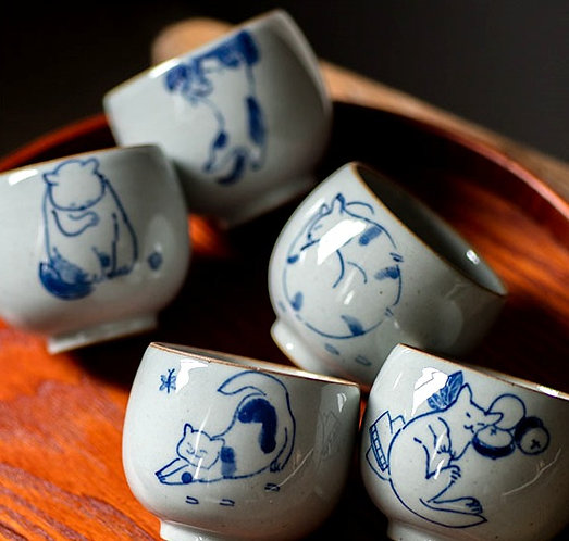 Qinghua Lazy Cats Teacups