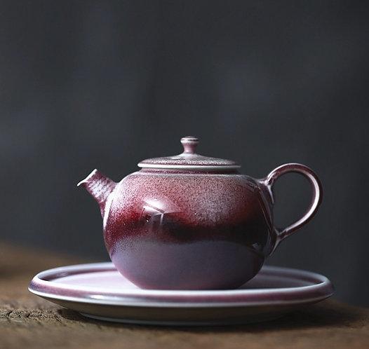 Handmade Garnet Glazed Teapot