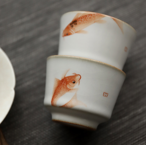 Twins Gold Fortune Fish Teacups