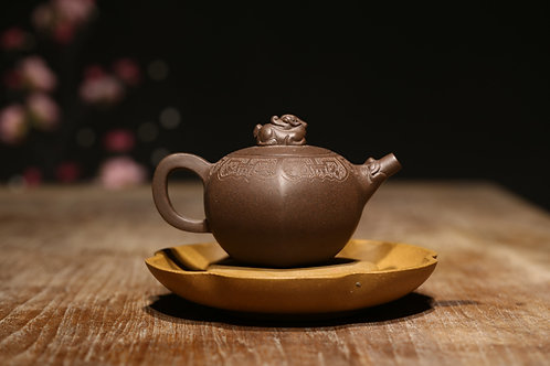 Yixing Zisha Aged Purple Clay Crouching Kilin Teapot (250ml)