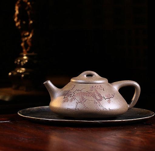 Yixing Zisha  Aged Fault Clay Deer Shi Piao Teapot (180ml)