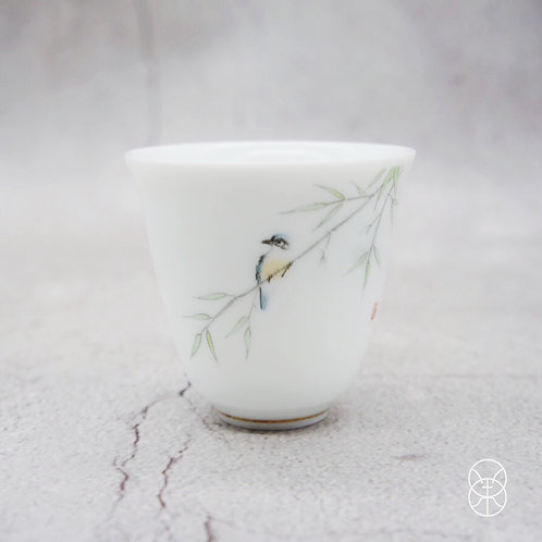 Hand Painted Sparrow Tea Cup