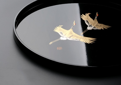 Delux Gold Crane Lacquerware Plate