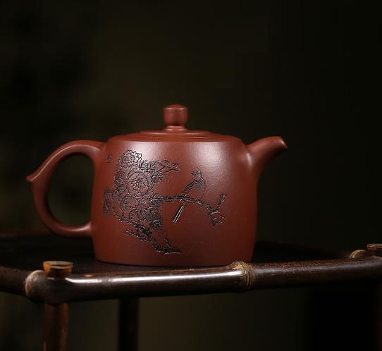 Yixing Zisha Base Clay Home in Peony Teapot (480mal)