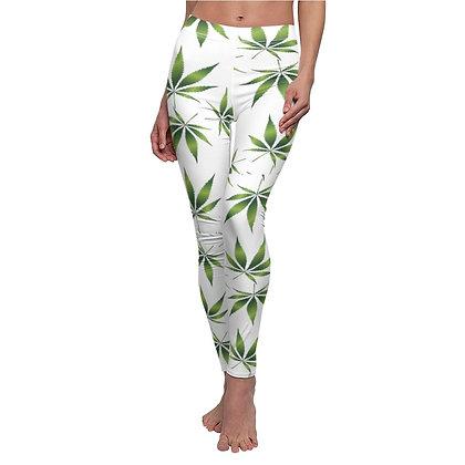 Marijuana Print Casual Leggings - White