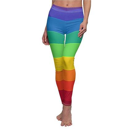 Rainbow Print Casual Leggings - Black