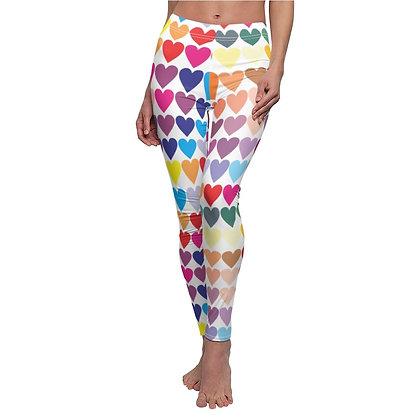 Heart Print Casual Leggings - White