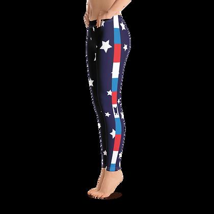 Super Star Leggings With Red White & Blue Side Stripe