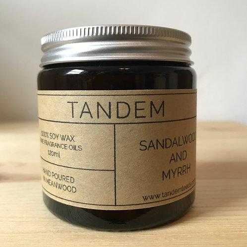 Sandalwood and myrrh soy wax candle