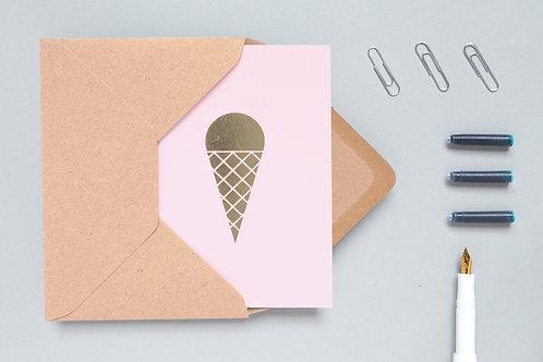 Ice cream card brass on pink