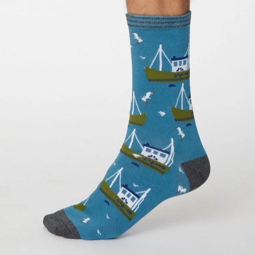 Blue fishing boat socks