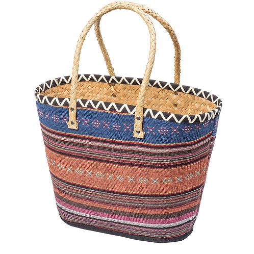 Coral and blue stripe palm leaf shopper bag