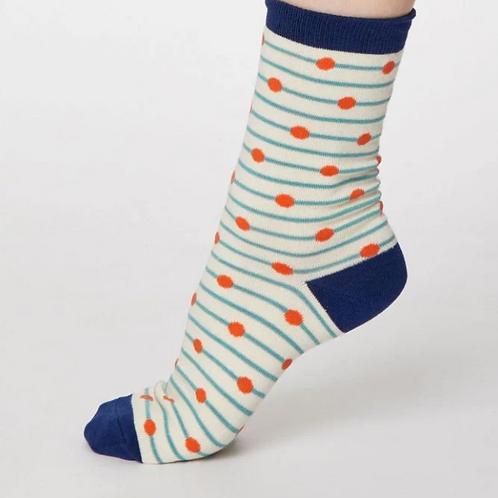 White and blue spot socks