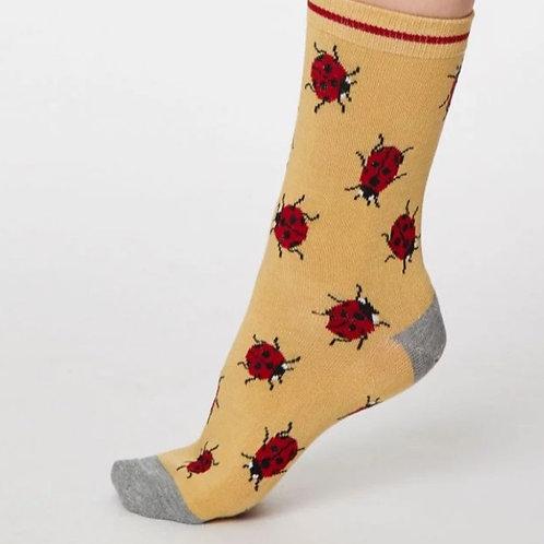 Mustard ladybird socks