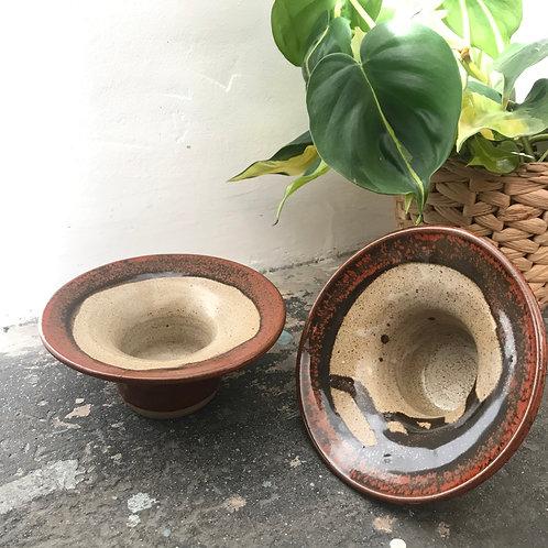 Studio pottery tea light holder (pair)
