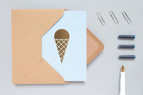 Ice cream card brass on blue