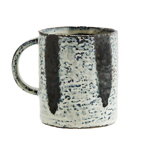Stoneware blue and white mug