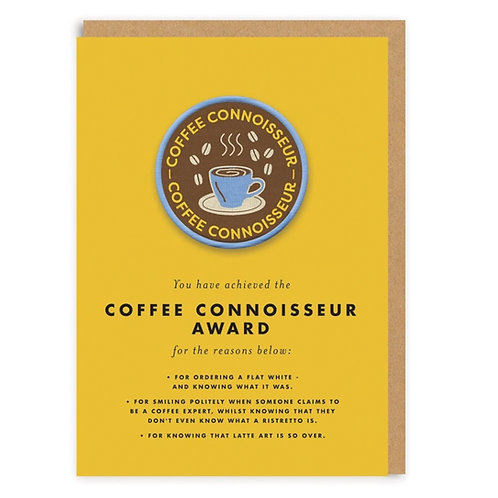 Coffee connoisserur award patch card