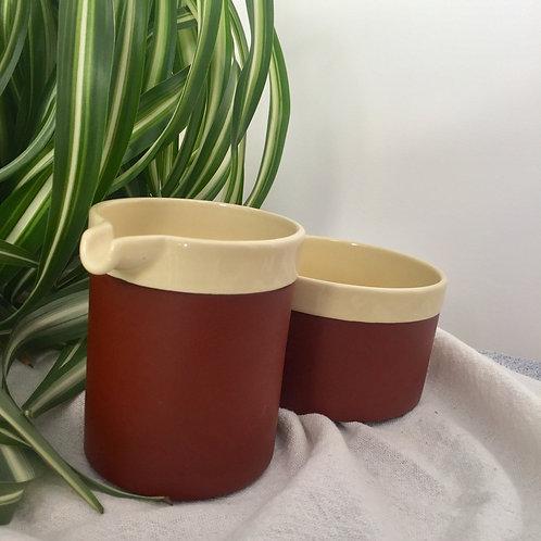 Hornsea (Cinnamon) milk jug and sugar bowl