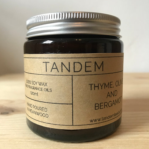 Thyme, olive & bergamot soy wax candle