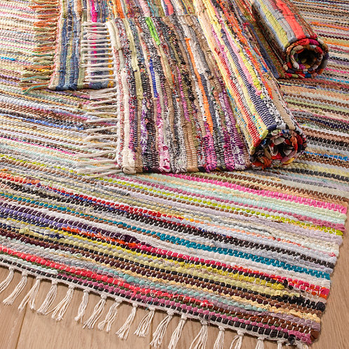 Recycled cotton rag rug