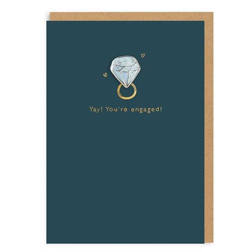 You're engaged enamel pin card