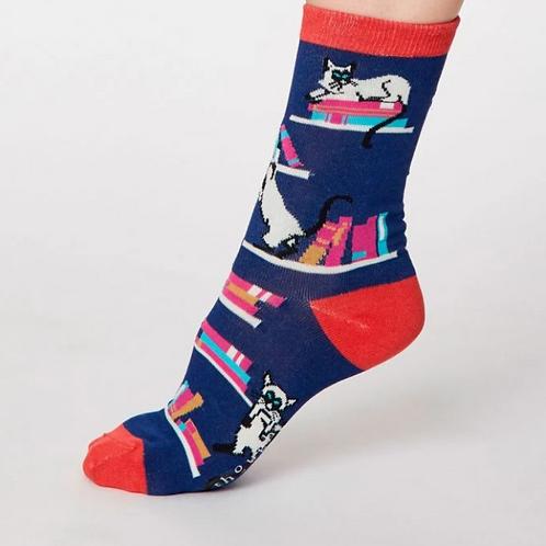 Blue silly cat socks