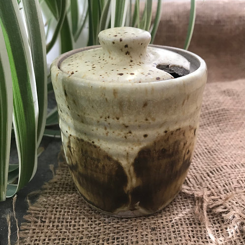 Stoneware speckled jam/sugar pot