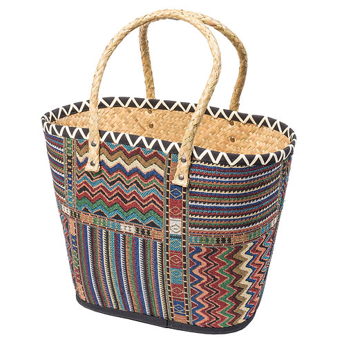 Aztec design palm leaf shopper bag