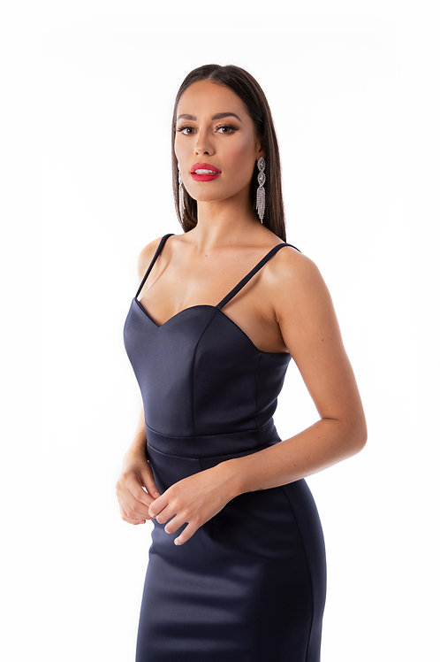 Sweetheart Trail Fishtail Maxi Dress - Navy