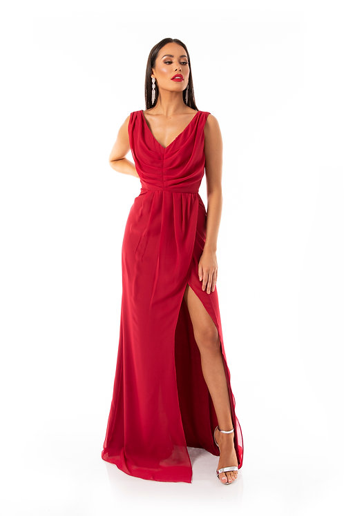 Grecian Style Maxi Dress - Scarlett Red