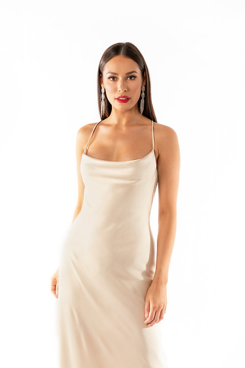 Soft Satin Cross Back Maxi Dress - Champagne