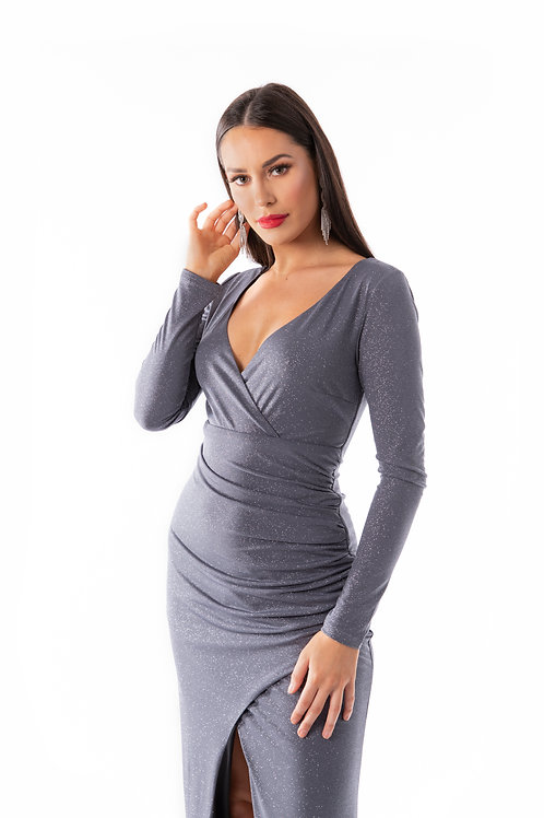 Sparkle Grey Wrap Dress