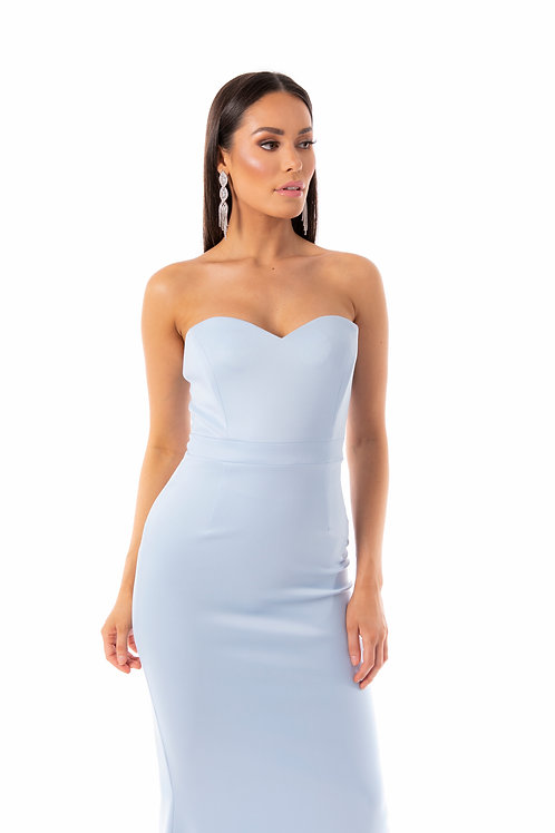 Sweetheart Strapless Maxi Dress - Sky Blue