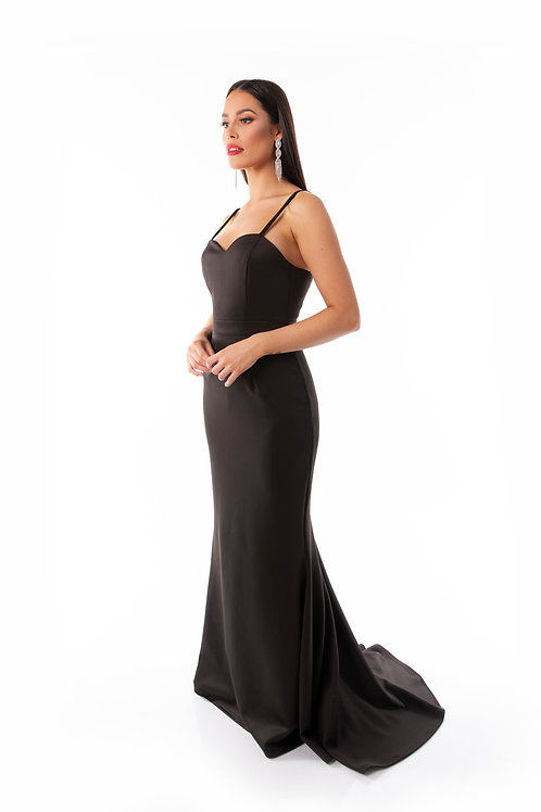 Sweetheart Trail Fishtail Maxi Dress - Black