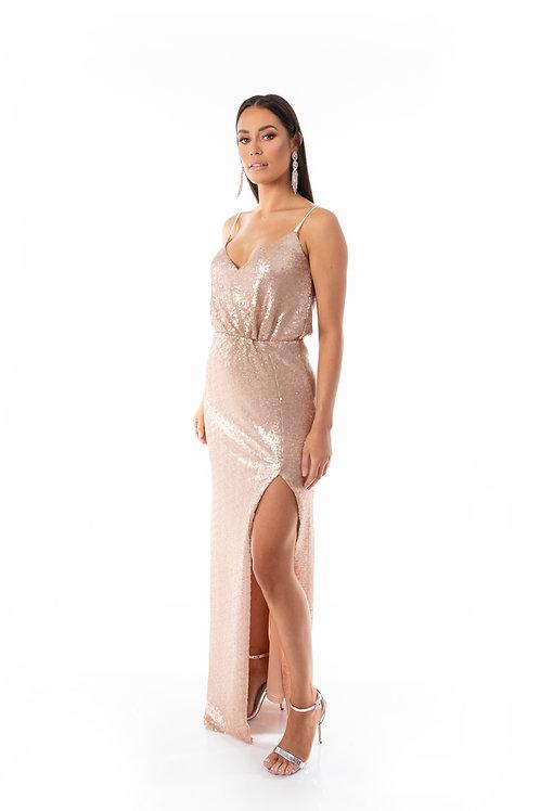 Sequin Evening Dress - Rose Gold