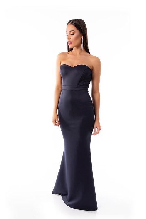 Sweetheart Strapless Fishtail Maxi Dress - Navy
