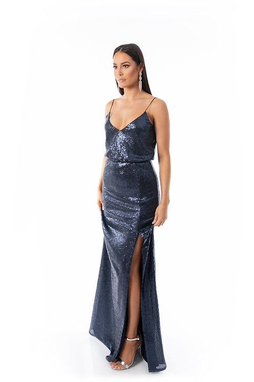 Sequin Evening Dress - Midnight Blue