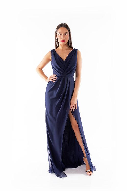 Grecian Style Maxi Dress - French Navy