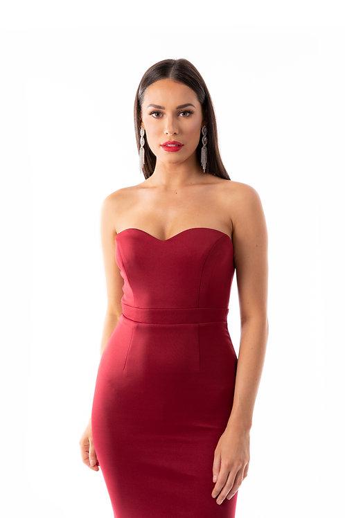 Sweetheart Strapless Maxi Dress - Scarlett Red
