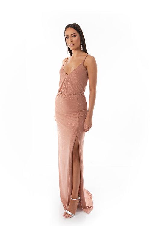 Shimmer Evening Dress - Nude