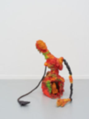 Zebu-Found objects, gloves, foam, paint,