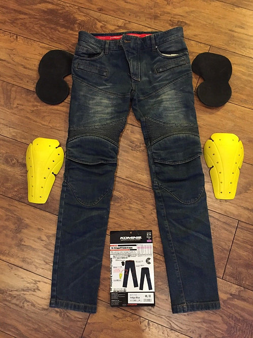 KOMINE riding pants with bullet proof material, protectors,shirring PK-718 Jeans