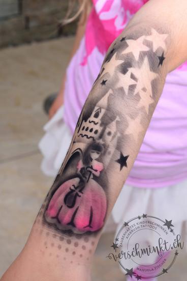 Airbrush Tattoo Prinzessin mit Schloss pink