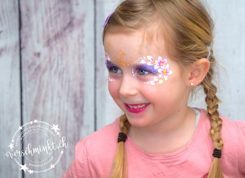 Prinzessin schminken Blumen Krone Kinderschminken