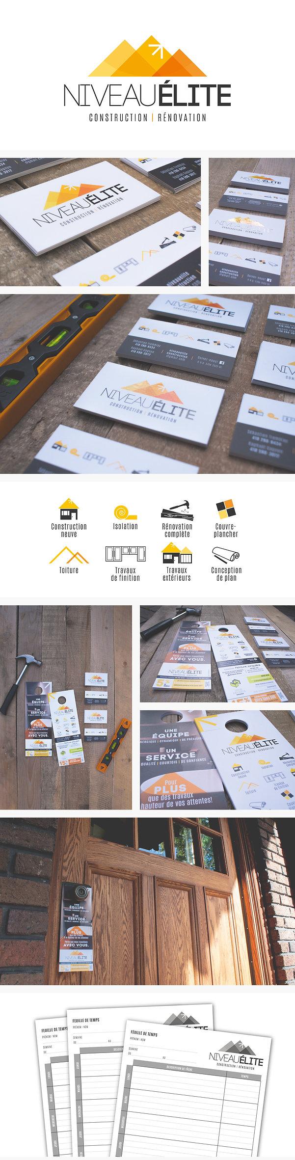 carte d'affaires, logo, Niveau Élite, construction, icône, construction neuve