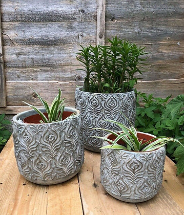 Set Of Three Peacock Feather Print Ceramic Pots