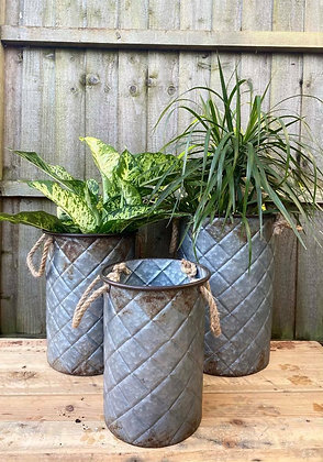 Set Of 3 Quilted Bucket Planters